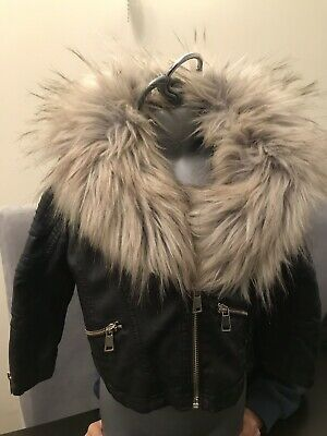 Girls River Island Leather jacket With Detachable Fur Collar Age 3