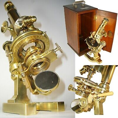 OUTRAGEOUS 1904 BAUSCH & LOMB ANTIQUE CONTINENTAL MICROSCOPE w/Case
