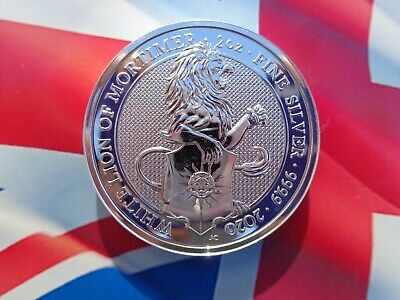 2020 GB 2 oz. Queen's Beast WHITE LION OF MORTIMER coin .9999 ultra-fine silver