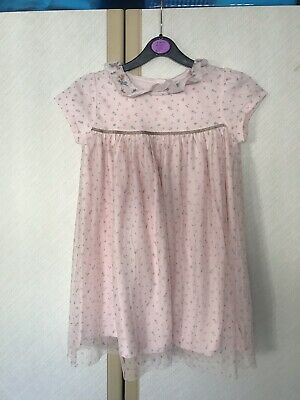 Brand New Next Girls Pink Floral Formal Dress 5-6years Cotton Christmas Gift