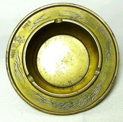 Vintage Solid Brass Etched Asian Ash Tray Wall Hang