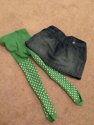 M&S Baby girl 12-18 months Denim Skirt & Green Tights Worn Once