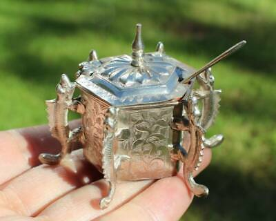Antique Chinese Export Solid Silver Dragon Mustard Pot(R3064S)