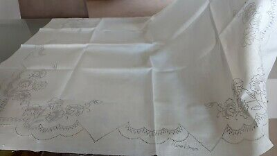 Beautiful Vintage Unworked Embroidered Stamped Square Tablecloth