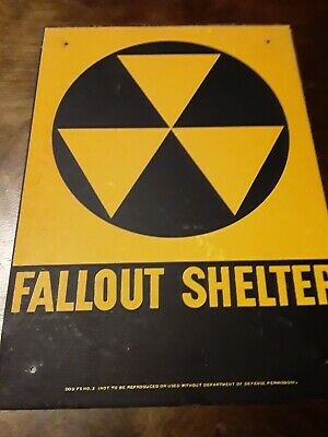 1960's Fallout Shelter Sign Vintage Department of Defense 10x14 Metal D.O.D FS 2