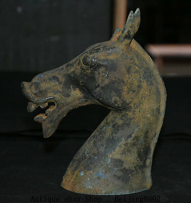 """7"""" Collect Chinese Old Antique Bronze Tang War Horse Head Bust Statue Sculpture"""
