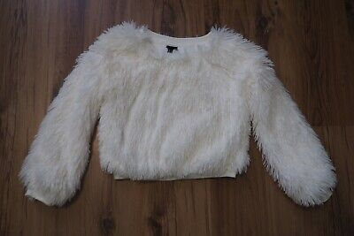 Art Class Girls Sz 6 Sweater Faux Fur Pullover White Cropped Christmas Holidays