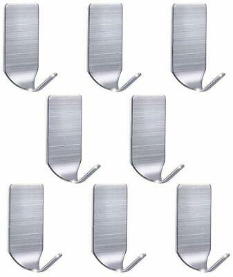 8PCS Adhesive Stainless Steel Strong Traceless Hook Towel Racks Wall Hooks Tool