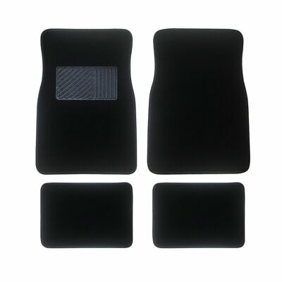 4 Pcs Carpet Car Floor Mats Front Rear Charcoal Black Universal Fit Textile