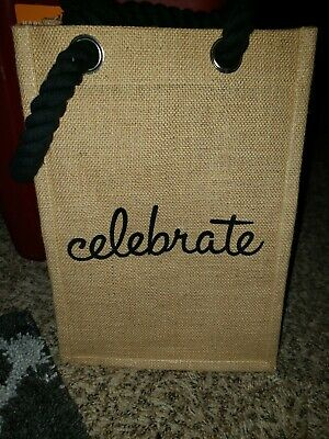 Awesome WINE BAG CARRIER  REUSABLE TOTE HOLDS 4 BOTTLES Gift Christmas Burlap