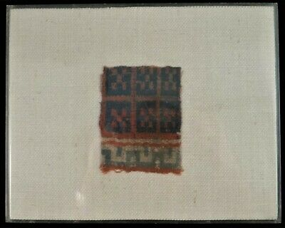 "Ancient Coptic Wool fragment, geometric design. 400-500 AD,  4"" x 3""."