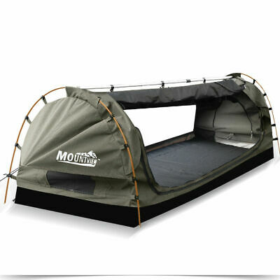 MOUNTVIEW Double King Single Camping Swags Canvas Free Standing Dome Tents Grey