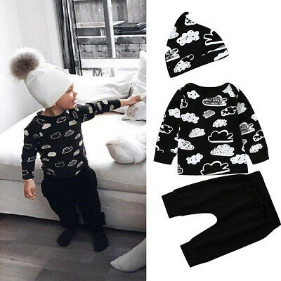 3PCS Newborn Infant Baby Boys Long Sleeve Tops Pants Hat Clothes Outfits Set