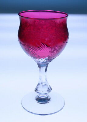 American Brilliant Period Cranberry Cut & Etched Wine Glass Antique ABP Crystal