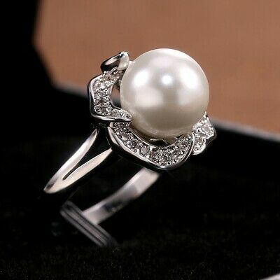 Gorgeous Women White Pearl 925 Silver rings Wedding Party Ring Size 6-10