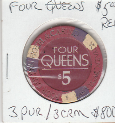 Four Queen,S  5.00 Dollar Casino Chip  Red  In Color, Very Rare 3 Pur / 3Crm