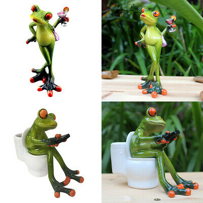 Set of 2 Frog Figurines Collectible Resin Garden Statues Home Decoration