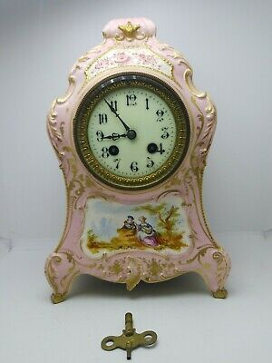 RARE C&J 1800s FRENCH VINCENTI & CO. MEDAILLE D' ARGENT Running Porcelain Clock