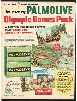 PALMOLIVE SOAP AD OLYMPIC GAMES PICTURE CARDS ADVERT 1956 Vintage Print Ad*Retro