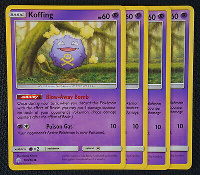 Pokemon Cards 4x Koffing 76/236 Playset Cosmic Eclipse NM/M