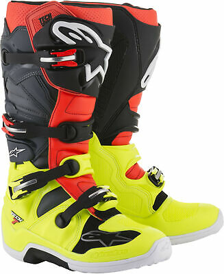Alpinestars Tech 7 Boots Yellow Red Grey