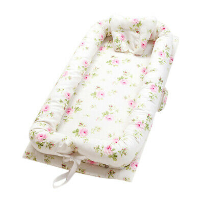 Floral Cotton Baby Bassinet Co-Sleeping Baby Bed for Bedroom/Travel 0-2 Year