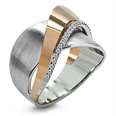 Creative Two Tone 925 Silver Rings Women White Sapphire Wedding Ring Size 6-10
