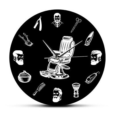 Barber Shop Sign Barber Chair Mute Wall Clock Hair Salon Stylist Equipment Watch