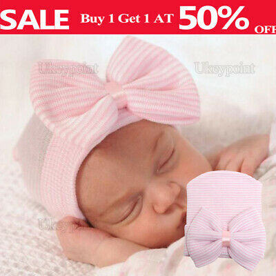 Girl Baby Infant Striped Soft Hat Soft Bow Cap Hospital Newborn Beanie Hats Pink