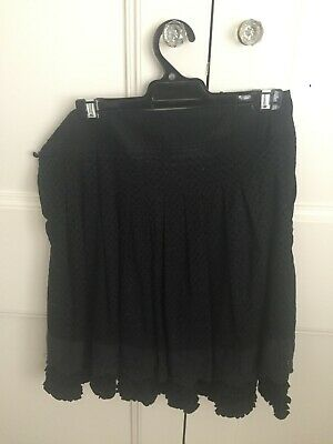 Alessandra Black Cotton Skirt Size S (AUS 8-10) With Buttons