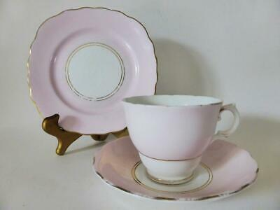 Vintage Royal Vale Pastel Pink Trio, Tea Cup Saucer + Cake Plate, 1950's