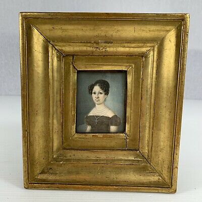Fine Painted Antique Portrait Miniature Of A Lady Well Dressed Wearing Cross