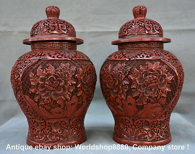 """13"""" Marked Rare Chinese Dynasty Red Lacquerware Peony Flower Jug Jar Tank Pair"""