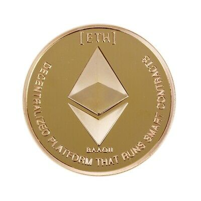 Gold Plated Commemorative Collectible Golden Iron ETH Ethereum Miner Coin DA
