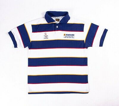 Foster's Mens Vintage Sydney 2000 Olympics blue and white polo shirt size M