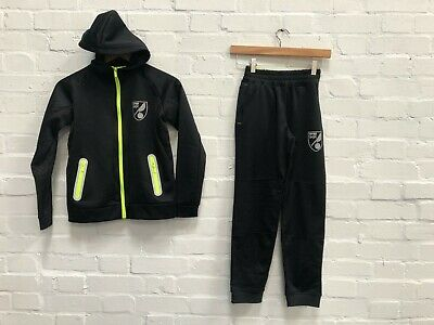 Norwich City FC Official Kid's Club Tracksuit Set - 4-5 Years - Black - New