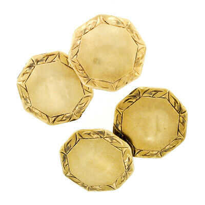 Engraveable Antique Art Deco 14k Yellow Gold Etched Dual Octagonal Cufflinks