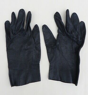 Vintage navy soft leather gloves,size S/approx 7
