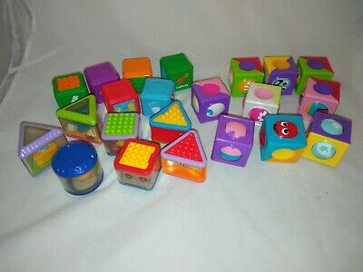 Fisher Price ASSORTED Activity Picture Blocks Tactile Interactive Blocks x 22