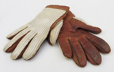 Vintage tan leather & cotton crocheted back driving gloves,size S/approx.7