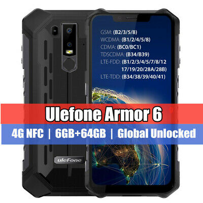 "Ulefone Armor 6 NFC 6.2"" 128GB Waterproof Smartphone Android 8.1 Global Unlocked"