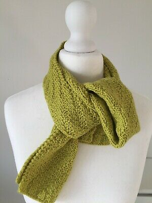 Hand Knitted Scarf, 100% Merino Wool, Great For Kids, Lemon Grass Green Colour