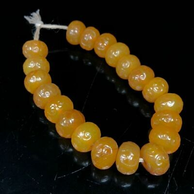 14mm Ancient Chinese Natural carved old yellow Agate Ruyi Beads lucky Bracelet