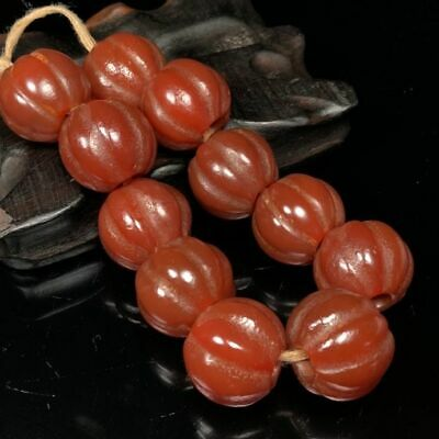 20mm Ancient Chinese Natural carved old red Agate Melon shaped Beads Bracelet
