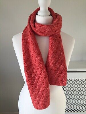 Hand Knitted Scarf, 100% Merino Wool, Great For Kids, Coral Colour
