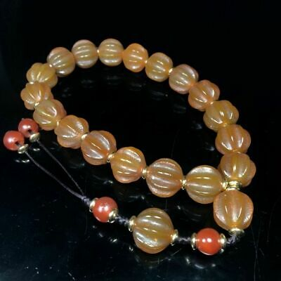 20mm Ancient Chinese Natural handcarved old Agate Melon shaped Beads Bracelet