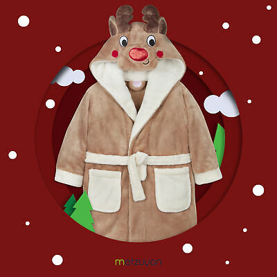 Childrens Boys Girls Rudolph Reindeer Xmas Novelty Dressing Gown Robe Cute Plush