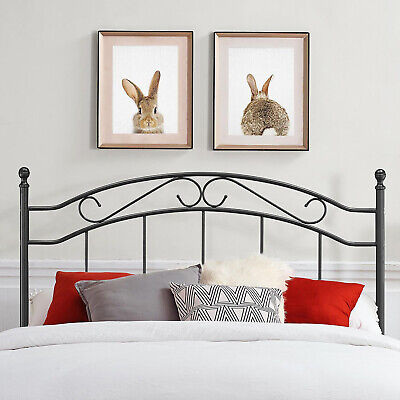 FULL QUEEN SIZE METAL HEADBOARD Traditional Bedroom Durable Powder Coated Black