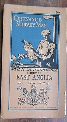 Vintage Ordnance Survey Map-East Anglia 1932-1/4 Inch To 1 Mile-Sheet 9a
