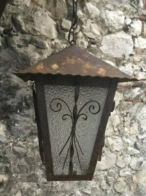 Antique French Wrought Iron Ceiling Light Fixture Lamp Lantern Spanish Revival